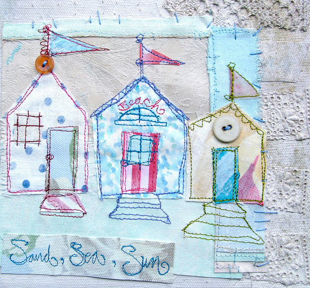 beach huts Fridays Fab Find: Priscilla Joness beautiful mixed media artwork
