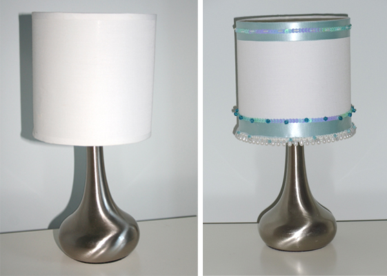 decorated lamp 2 before and after From plain to pretty with a few beads and ribbons