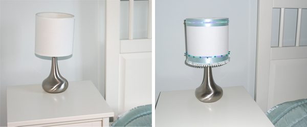 decorated lamp 3 before and after From plain to pretty with a few beads and ribbons