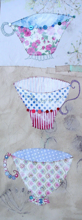 tea cups Fridays Fab Find: Priscilla Joness beautiful mixed media artwork