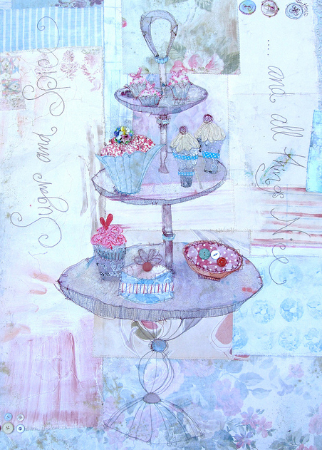 tea party Fridays Fab Find: Priscilla Joness beautiful mixed media artwork