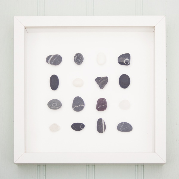 Coastal Art - A Trio of framed beach finds - beach pebbles