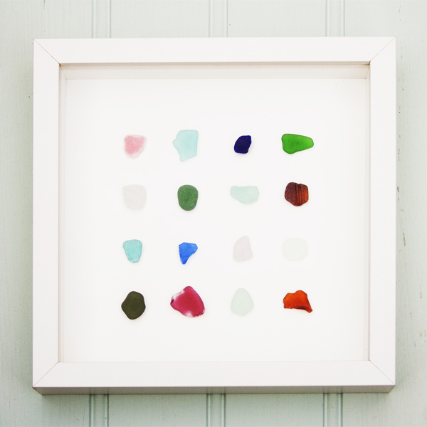 Coastal Art - A trio of framed beach finds -  sea glass