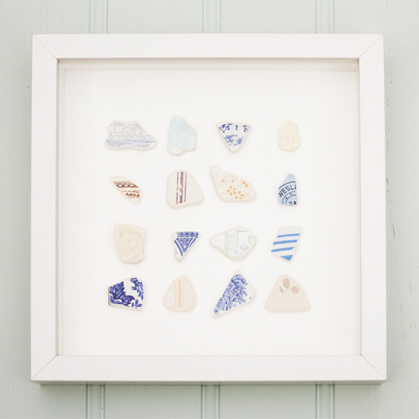Coastal Art - A trio of framed beach finds - sea pottery