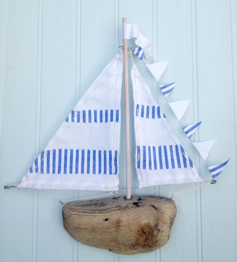 Driftwood Boat - blue and white