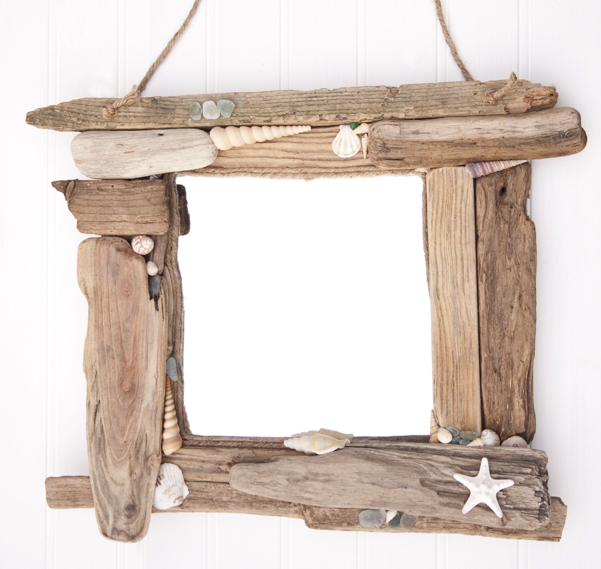 Driftwood & Sea Glass Mirror 1