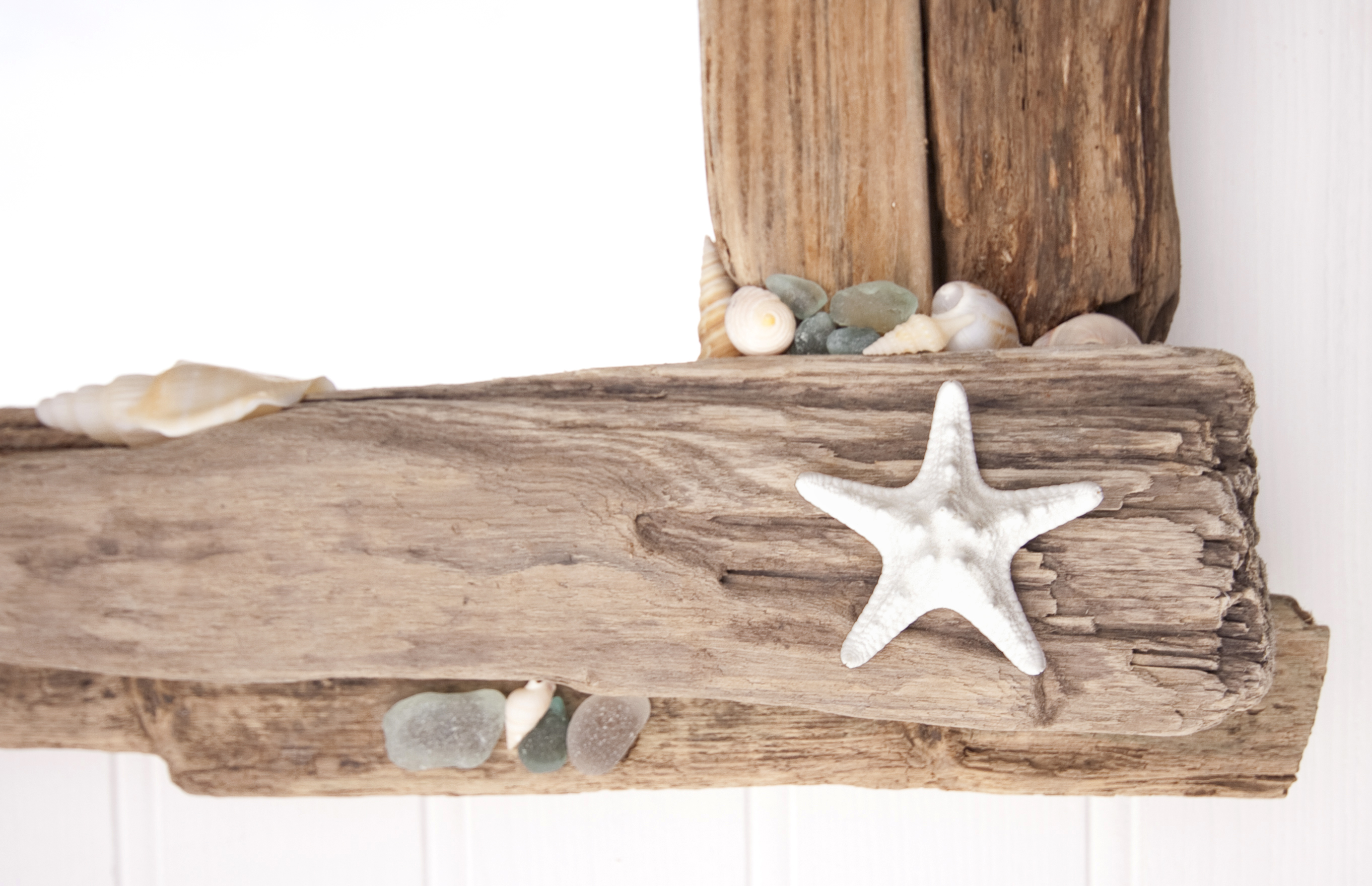 Driftwood & Sea Glass Mirror detail 1