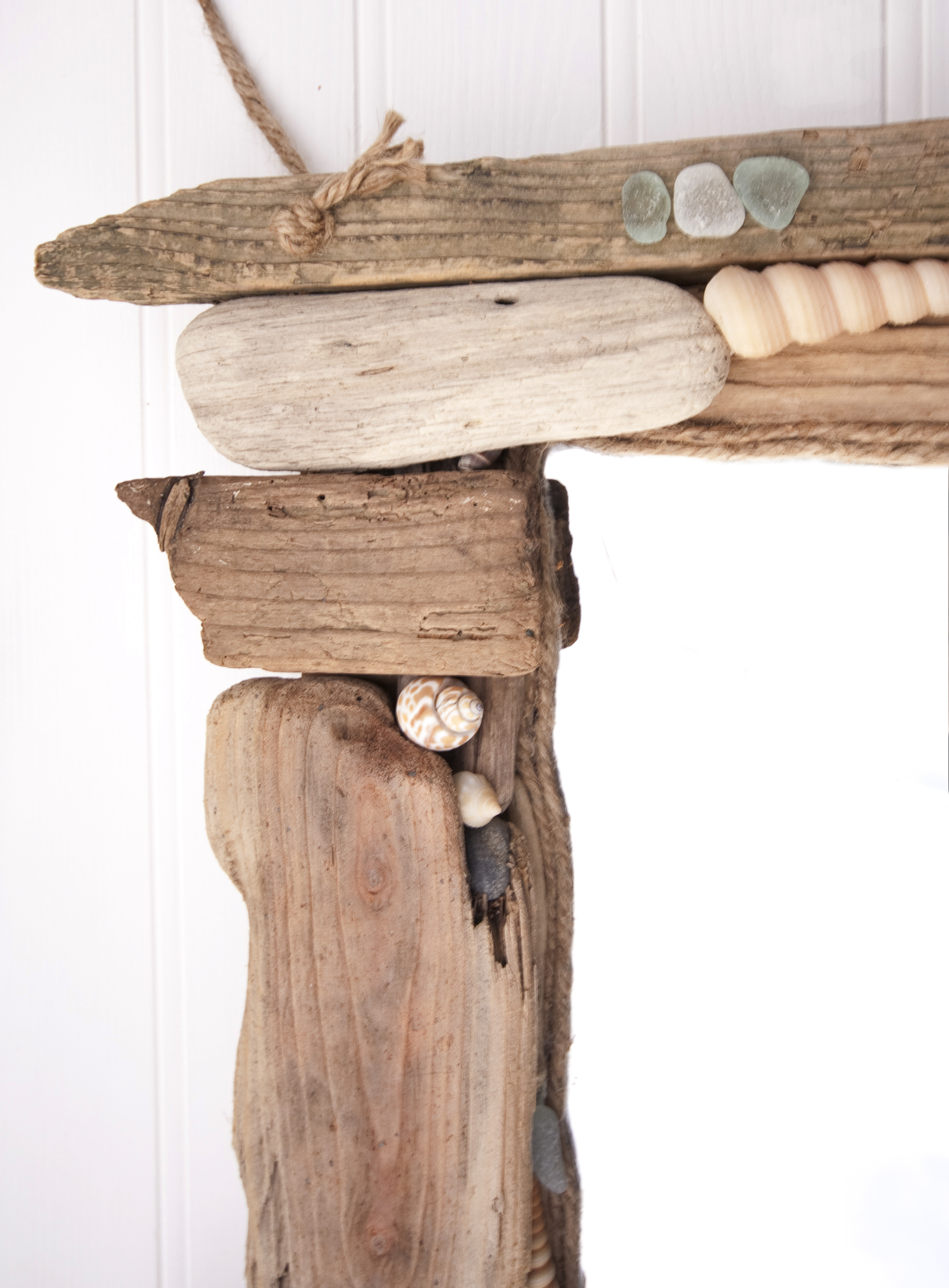 Driftwood & Sea Glass Mirror detail 2