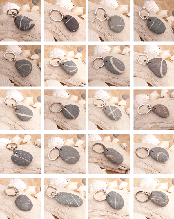Beach Stone Pebble Key Rings