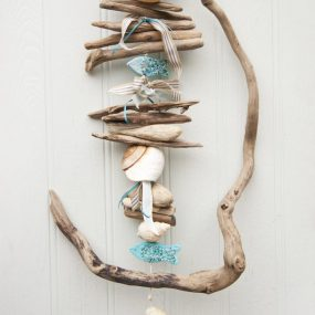 Twisted Driftwood, Shell and Fish hanging - driftwood wall art - driftwood beach decor - fish art