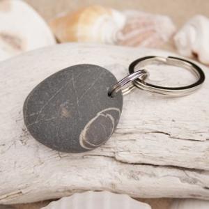 beach pebble key ring