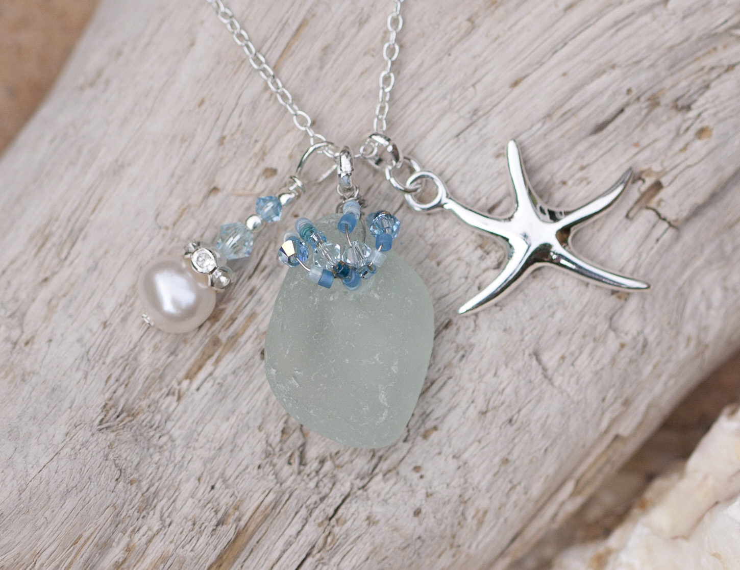 Turquoise Sea Glass Necklace Driftwood Dreaming