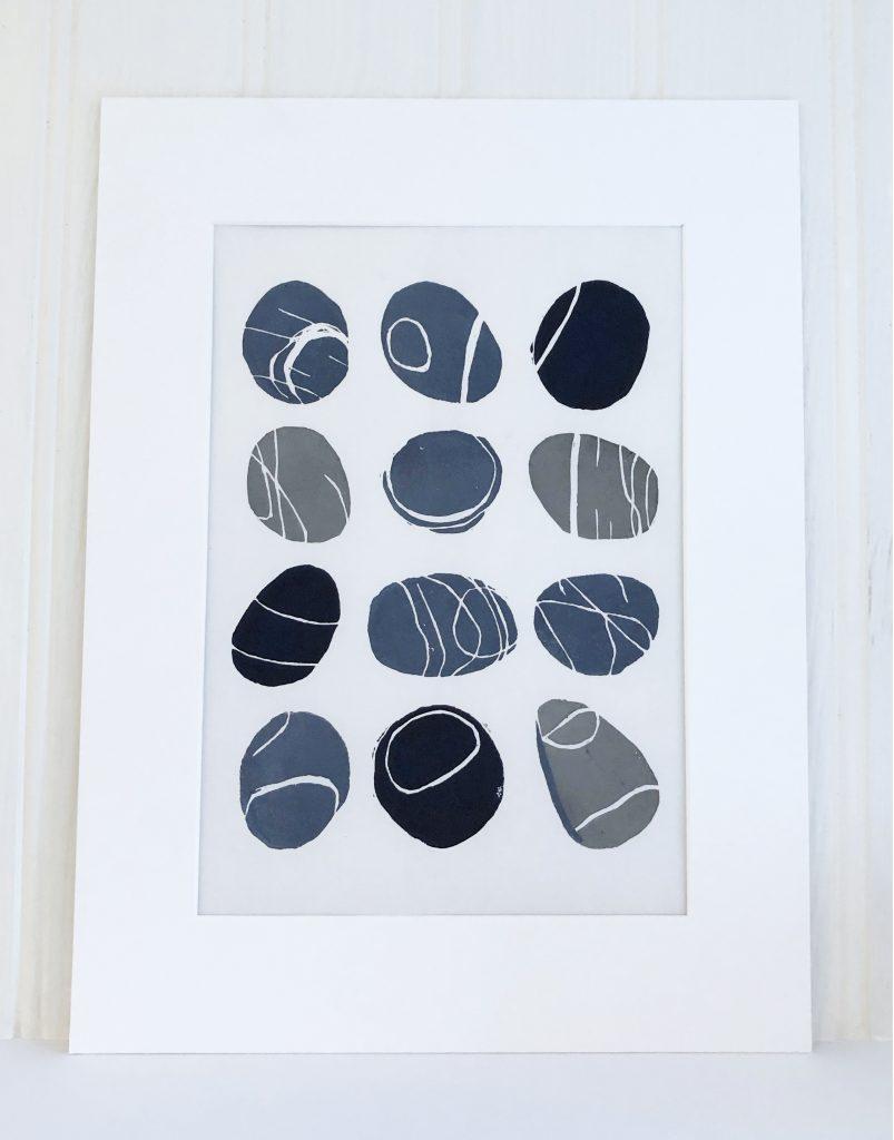 Lino Print Beach Pebbles